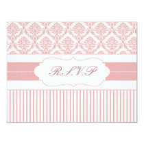 dusty rose pink damask stripes rsvp card
