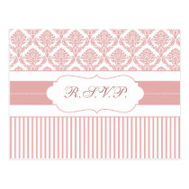 dusty rose pink damask stripes rsvp postcard