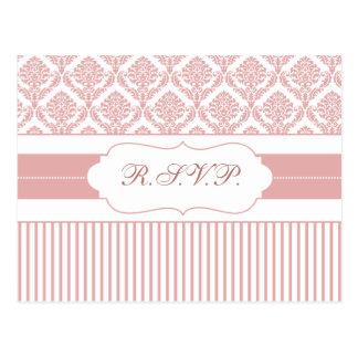 dusty rose pink damask stripes rsvp postcard
