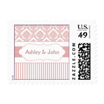 dusty rose pink damask wedding postage