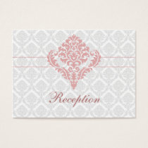 dusty rose pink damask wedding Reception Cards