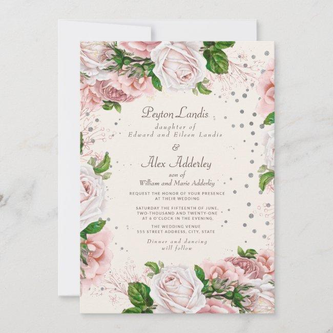 Dusty Rose Pink Floral Silver Glitter Wedding Invitation