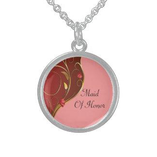 Dusty Rose Pink Golden Swirls Wedding Sterling Silver Necklace