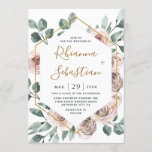 """Dusty Rose Pink Mauve Gold Greenery Floral Wedding Invitation<br><div class=""""desc"""">Design features a printed gold colored geometric frame with elegant watercolor dusty/muted roses in shades of pink,  mauve,  purple and more.  The back also features matching floral and greenery elements to compliment the front.</div>"""