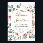 "Dusty Rose Pink Mauve Gold Greenery Floral Wedding Invitation<br><div class=""desc"">Design features a printed gold colored geometric frame with elegant watercolor dusty/muted roses in shades of pink,  mauve,  purple and more.  The back also features matching floral and greenery elements to compliment the front.</div>"