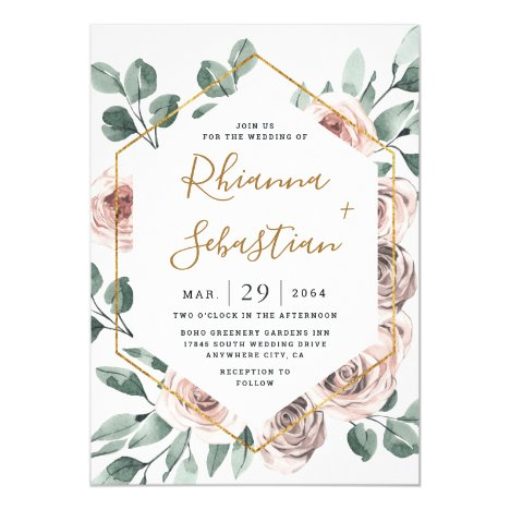 Dusty Rose Pink Mauve Gold Greenery Floral Wedding Invitation