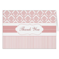 dusty rose pink stripes damask ThankYou Cards