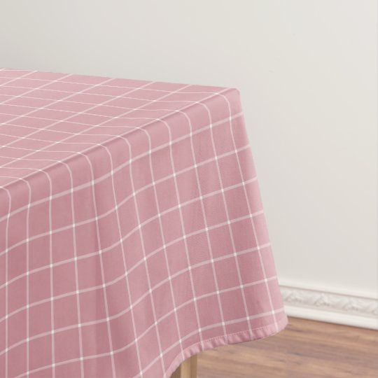 Dusty Rose Pink Windowpane Check Plaid Tablecloth
