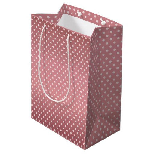 Dusty Rose Polka Dots Pattern Medium Gift Bag