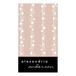 Dusty Rose Stylish Dots Straw Business Cards