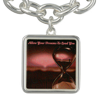Dusty Rose, Tan Hourglass Artsy Zen Beach Sunrise Bracelet