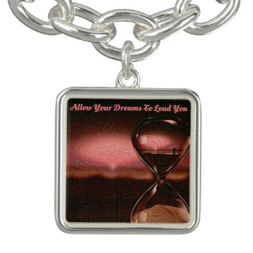 Beach Themed Dusty Rose, Tan Hourglass Artsy Zen Beach Sunrise Bracelet