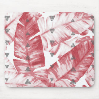 Dusty Rose Tropical Banana Leaves Arrows Design Mouse Pad