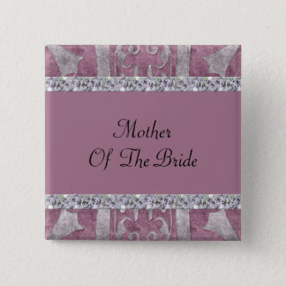 Dusty Rose Velvet Look Flourish & Diamond Shimmer Pinback Button