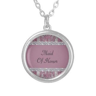 Dusty Rose Velvet Look Flourish & Diamond Shimmer Silver Plated Necklace
