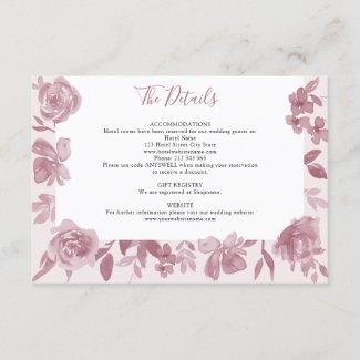 Dusty Rose Watercolor Floral Wedding Details Enclosure Card
