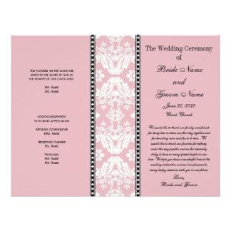 Dusty Rose White Damask Wedding Program Full Color Flyer