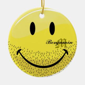 Dusty Ruff Bearded Smiley Face Ceramic Ornament