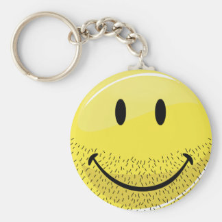 Dusty Ruff Bearded Smiley Face Basic Round Button Keychain