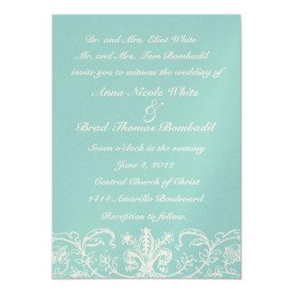 "Dusty Sage and Cream Lace Wedding Invitation 5"" X 7"" Invitation Card"