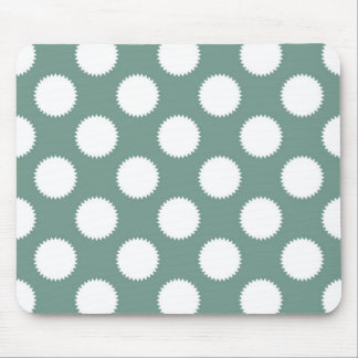 Dusty Sage Green and White Polka Dot Pattern Mouse Pad