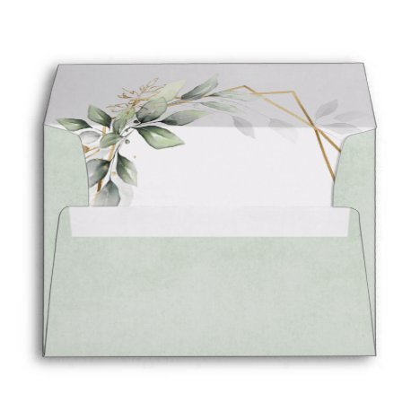 Dusty Sage Green Greenery Geometric Rustic Wedding Envelope
