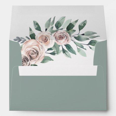 Dusty Sage Green Rose Boho Greenery Floral Wedding Envelope