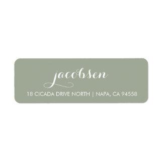 Dusty Sage Green & White Elegant Calligraphy Label