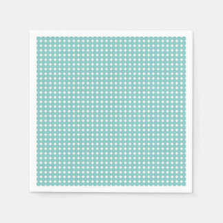Dusty Teal Cute Pattern Little White Diamonds Paper Napkins
