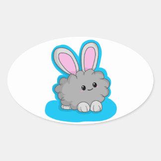 Dusty the Dust Bunny Oval Sticker