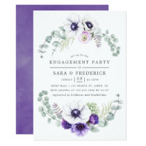 Dusty Violet Watercolor Floral Engagement Party Card