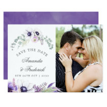 Dusty Violet Wedding Floral Wedding Save the Date Card