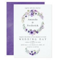 Dusty Violet Wedding Watercolor Floral Invitation