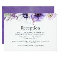 Dusty Violet Wedding Watercolor Floral Reception Card