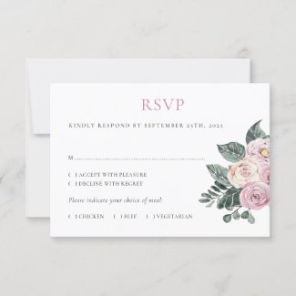 Dusty Watercolor Roses Pink Blush Floral Wedding RSVP Card