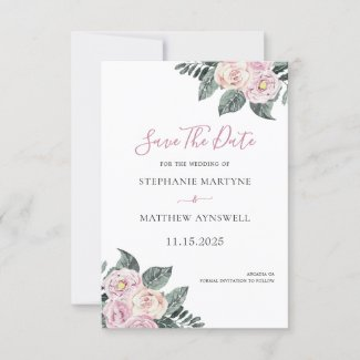 Dusty Watercolor Roses Pink Blush Floral Wedding Save The Date