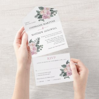 Dusty Watercolor Roses Pink Blush Wedding All In One Invitation