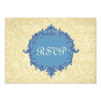 Dusty Yellow Misty Blue RSVP Wedding Response Card