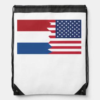 Dutch American Flag Drawstring Bag