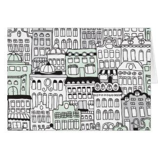 Dutch amsterdam illustration home pattern card