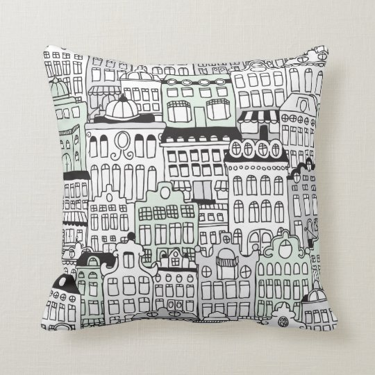 Dutch amsterdam illustration home pattern throw pillow