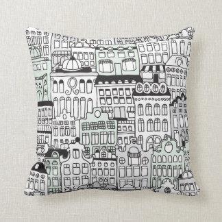 Dutch amsterdam illustration home pattern throw pillow
