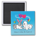 Dutch and Lop Rabbit : where the heart is Fridge Magnet