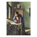 Dutch Artist Vermeer Painting The Geographer Greeting Card