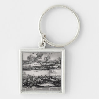 Dutch Attack on the River Medway Silver-Colored Square Keychain