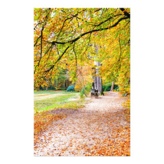 Dutch autumn landscape with footpath and tree stationery