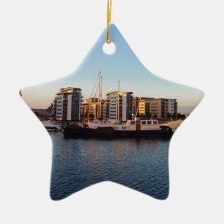 Dutch Barge In London Ceramic Ornament