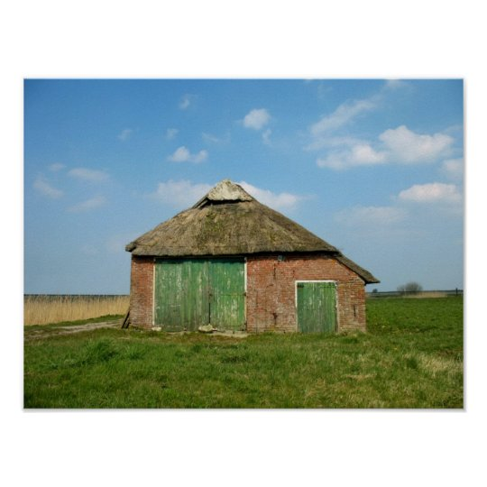 Dutch Barn in Friesland, Holland Poster
