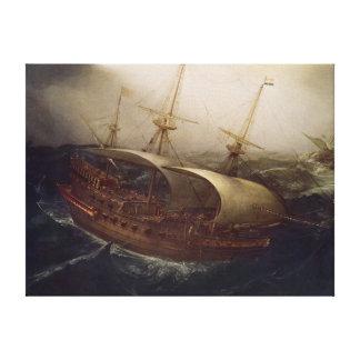 Dutch Battleship in a Storm Canvas Print