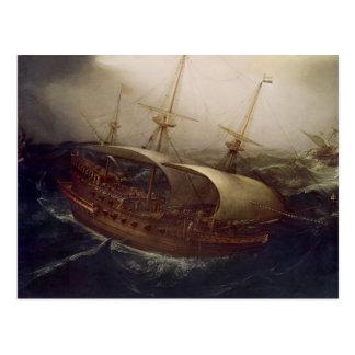 Dutch Battleship in a Storm Postcard